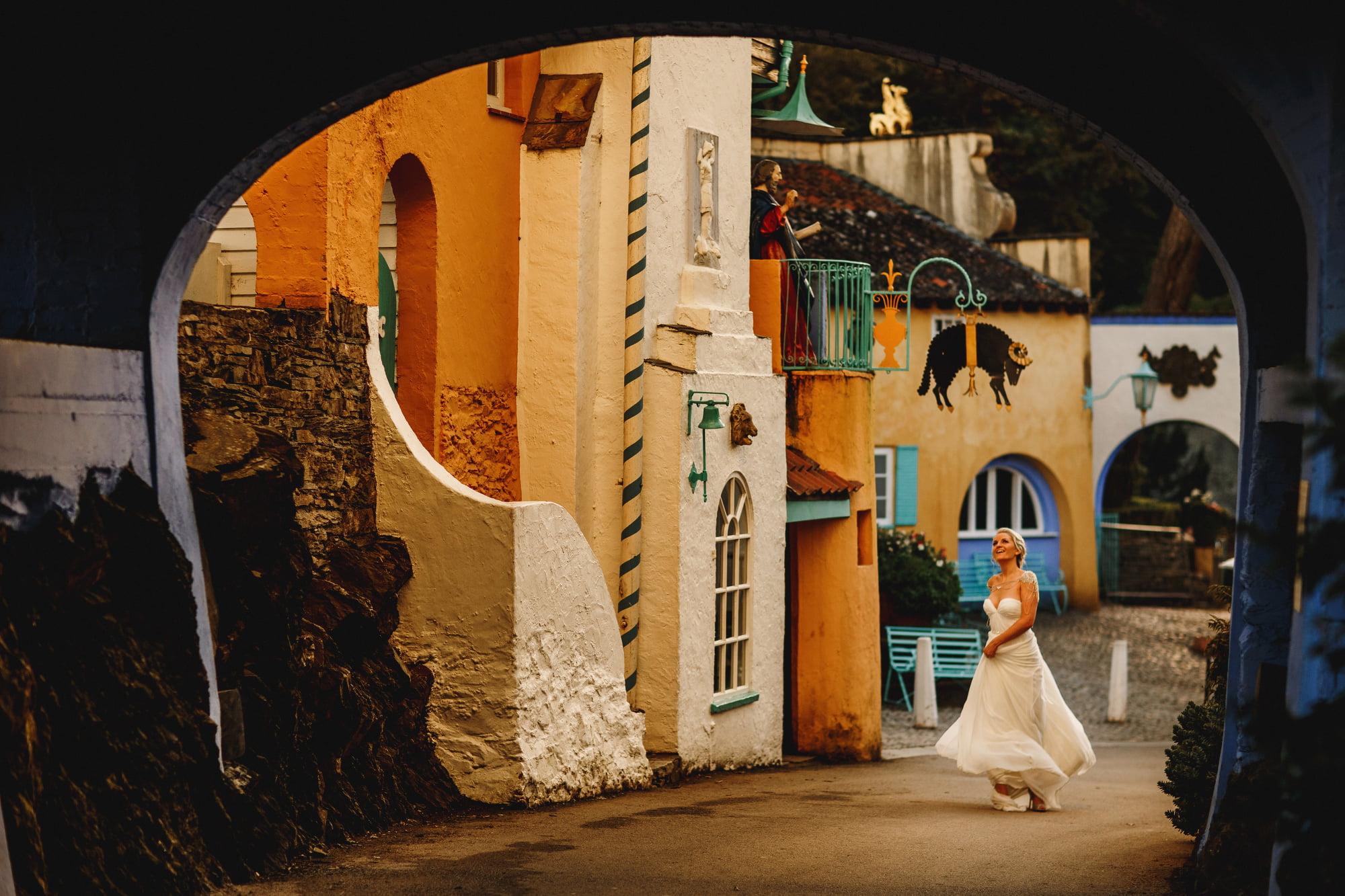 Portmeirion wedding photography UK - creative wedding photos