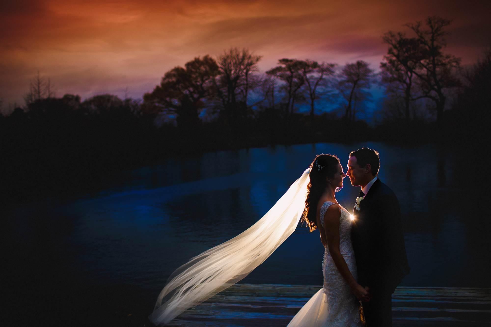Styal Lodge dramatic wedding photography.