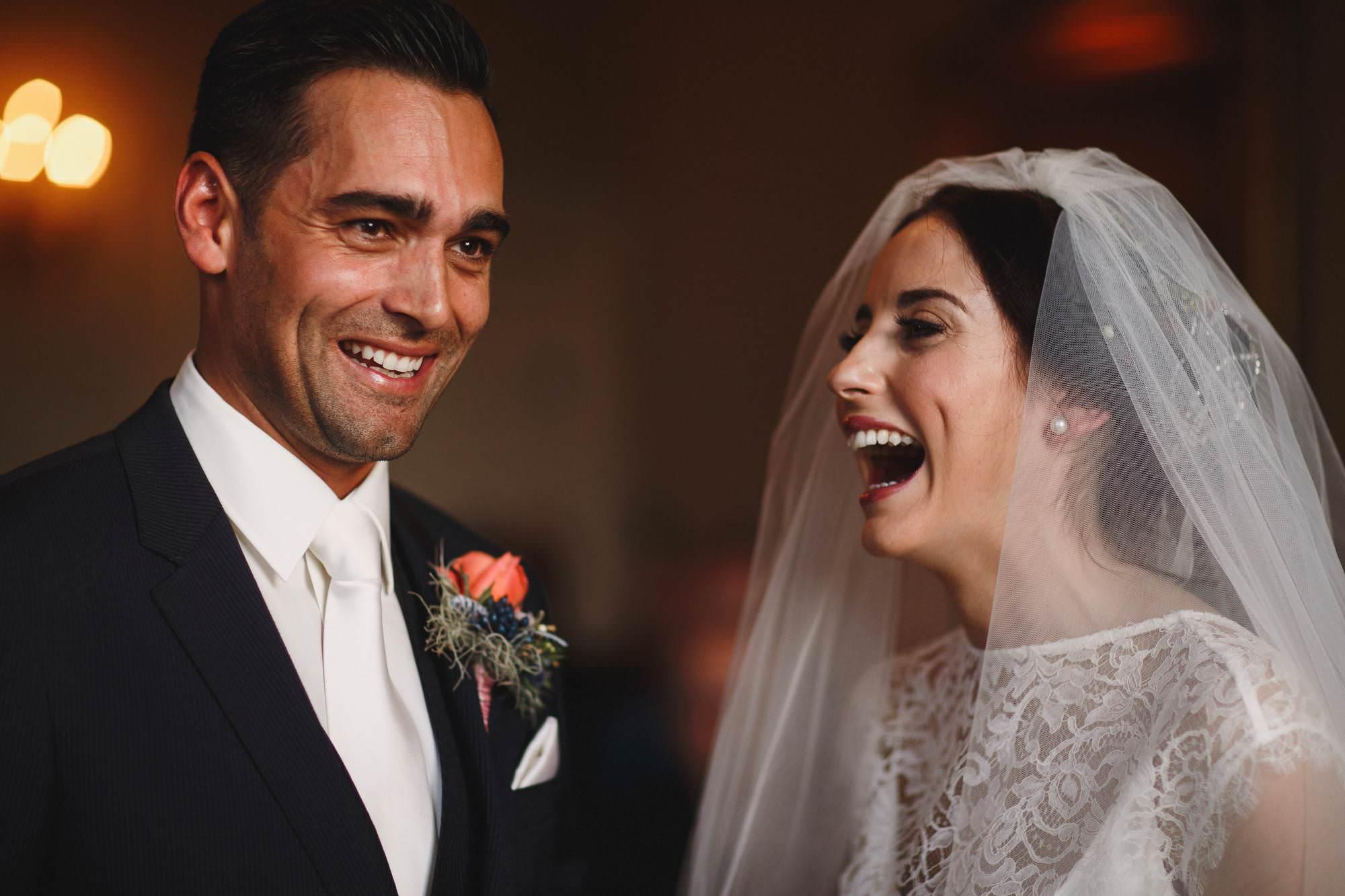 Iscoyd park wedding ceremony photography. Happy bride and groom.