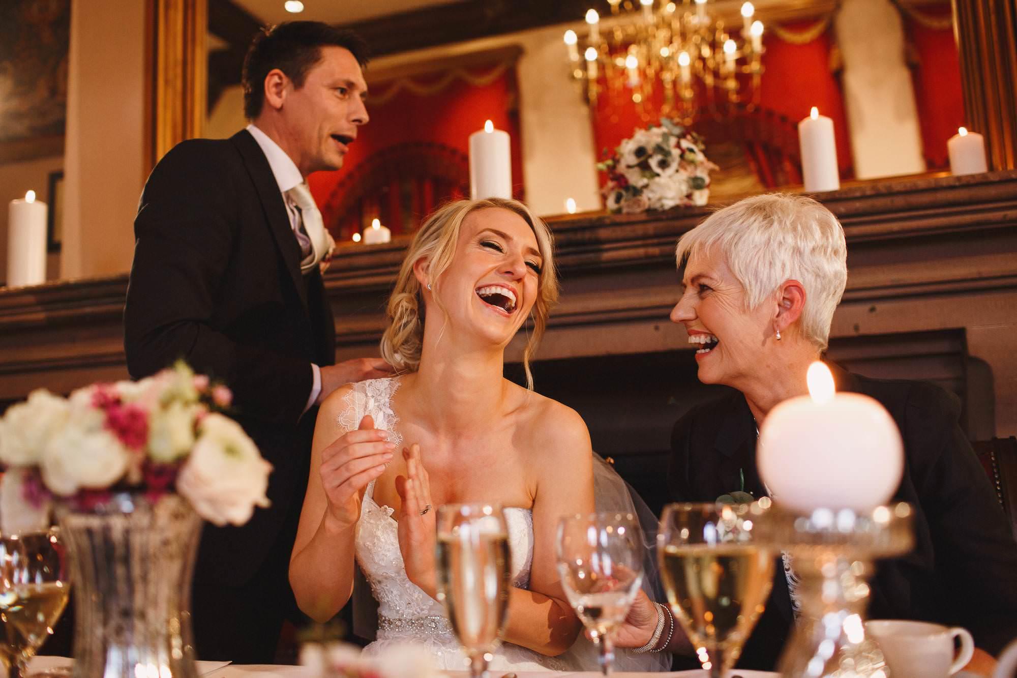 Wedding speeches at Peckforton Castle, Cheshire