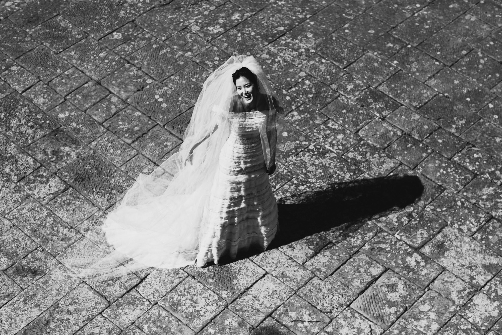 Happy bride in Tuscany